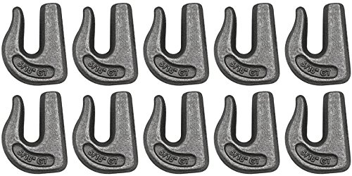 Weld on Tow Set of 10 Grade 70 Weldable Grab Hook for 5//16 Chain BA Products 11-516WGH-x10 Rigging