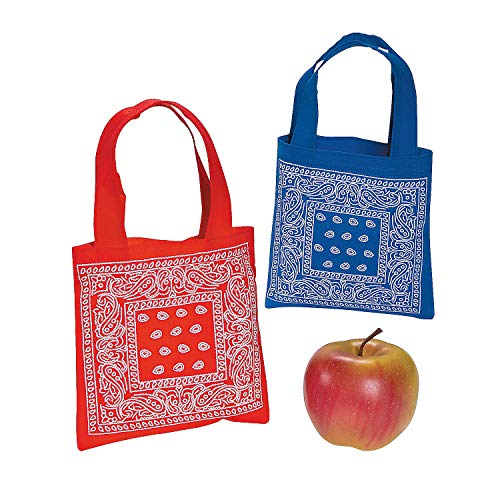 Fun Express Mini Bandana Print Tote Bags | 12 Count | Great for Western Themed Event, Cowboy Birthday Party, Favor Totes]()