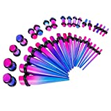 BodyJ4You 36 Pieces Gauges Kit Radiance Blue and Purple Tapers with Plugs 14G-00G Stretching Kit - 18 Pairs