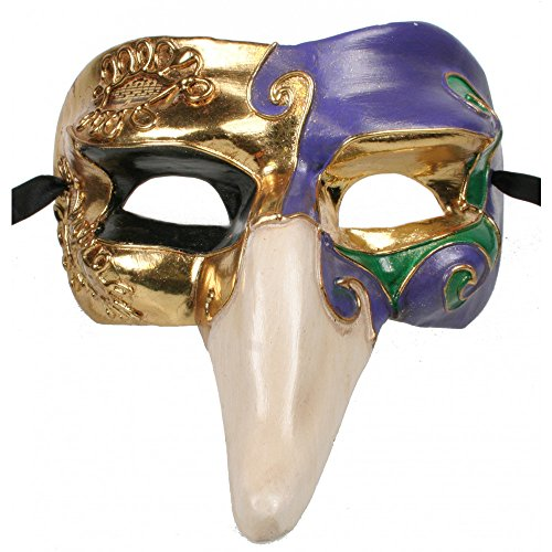 Mardi Gras Pulcinella Long Nosed Costume Mask (Long Nose Halloween Mask)