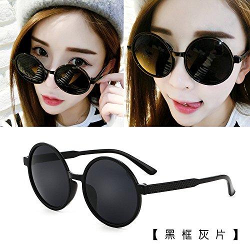 Sunyan Sonnenbrille tide star Gläser neue Runde Persönlichkeit Sonnenbrille Frau rundes Gesicht koreanische Männer Augen 15938, Schwarz-Rahmen, grau