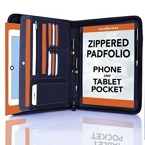 Wundermax Portfolio Padfolio/PU Leather Portfolio Zippered Closure - Bonus Bookmarks & Writing Pad - Tablet Sleeve - Professional Business Gift (Black)