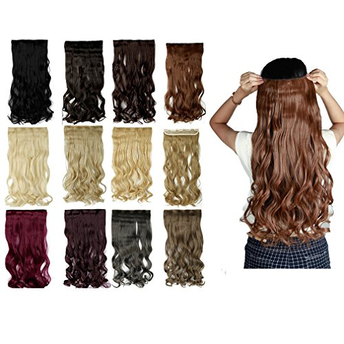 [Sexybaby High Synthetic Fiber Clip-in Hairpiece Extension 1 Piece 5 Clips (Curly - 24'', light] (2016 Womens Halloween Costumes Diy)