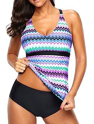 Eternatastic Womens Wave Printed Tankini Top Crossed Back Bathing Suit Swimsuits Purple