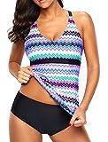 Eternatastic Womens Wave Printed Tankini Top Crossed Back Bathing Suit Swimsuits XXL Purple