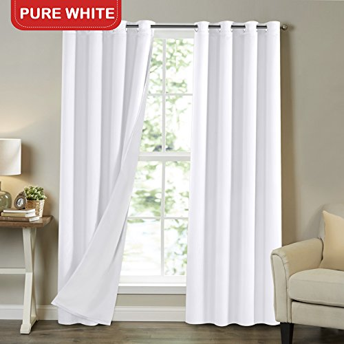 Full Light Blocking Lined Curtains Solid White 84 Inch Long Faux Satin with White Liner Noise Reducing Nursery Room Curtains Room Darkening Drapes Wide 52