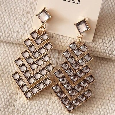 New  Forever21  Pierced Earrings Christmas Womens Jewelry Gold Tone Grey Glass