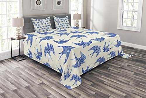 Lunarable Animal Bedspread Set King Size, Sparrows Fly Birds with Mosaic Antique Like Image Prints on Their Wings Artwork, Decorative Quilted 3 Piece Coverlet Set with 2 Pillow Shams, Coconut Blue by Lunarable
