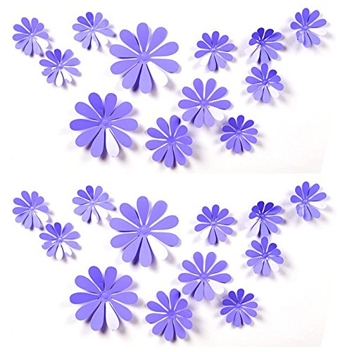 24 PCS Cute 3D DIY Flowers Wall Decals Removale Home Art Decor Flowers Wall Stickers Murals for Kids Girls Room Bedroom Weeding Party Birthday Shop Windows Decorations