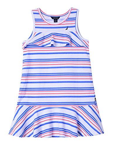 Nautica Girls' Little Patterned Sleeveless Dress, White/red/Blue 5