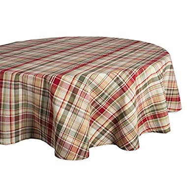 DII 100% Cotton, Machine Washable, Dinner and Fall & Thanksgiving Tablecloth 70  Round, Give Thanks Plaid, Seats 4-6 People