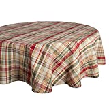 ": Cabin Plaid Tablecloth, 100% Cotton with 1/2"" Hem (70"" Round - Seats 4 to 6)"