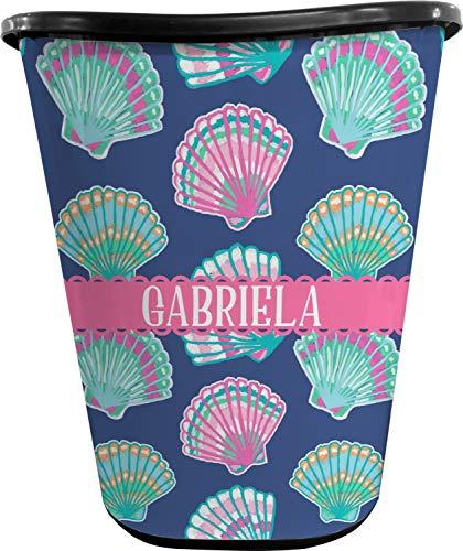 RNK Shops Preppy Sea Shells Waste Basket - Single Sided (Black) (Personalized) (Wastebasket Seashell)