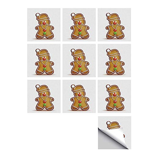 (C COABALLA Gingerbread Man Stylish Ceramic Tile Stickers 10 Pieces,Whimsical Cartoon Santa Gingerbread Man with Bonbon Candies Decorative for Kitchen Living Room,5