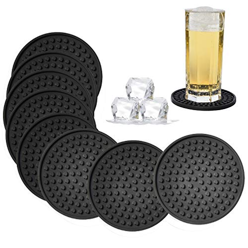 Large Heart Shaped Bottle - Silicone Drink Coasters Set of 8-Deep Tray,Large 4.3 inches Size Protect Table Desk From Drinks, Beverage,Water or Alcohol Like Whiskey, Beer, Wine,Tropical Cocktails by Kindgal (8, Black-Heart)