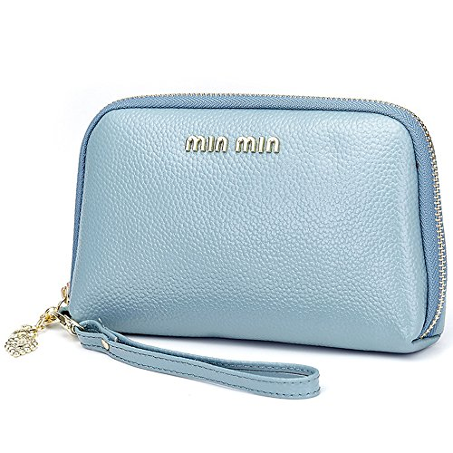 Aladin Leather Evening Clutch Purse, Zip Around Cell Phone Bag (Light Blue Leather Bags)