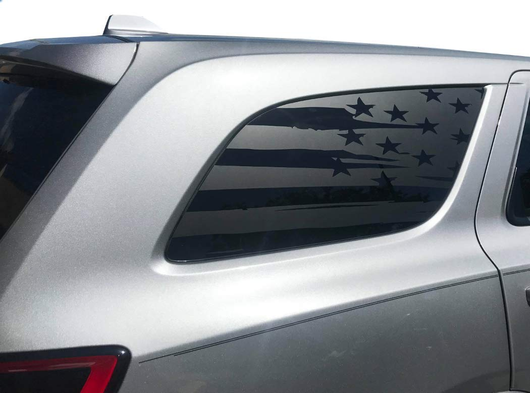 USA Flag Decals for Dodge Durango in Matte Black for side windows fits 3rd Generation 2011-2018 DD3A