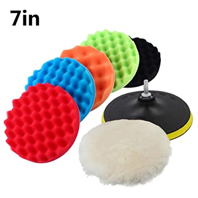 "Polishing Pads, 7pcs 7"" Car Sponge Polishing Buffing Waxing Pad Kit with Woolen Buffer and Adhesive Backer Pad for Auto Car Polisher Cleaning Vehicle Wash: Automotive"