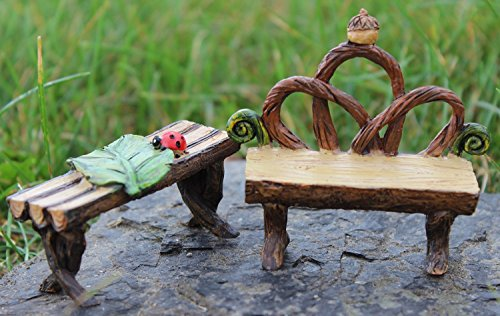 iniature Fairy Garden Furniture - Woodland Bench and Table (Miniature Log Furniture)
