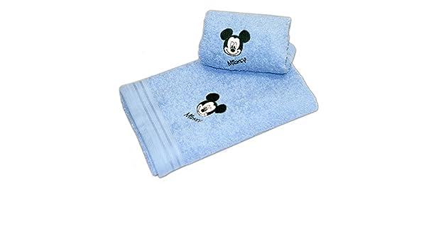 Disney 17277 - Juego de 2 toallas bordadas, diseño cara de Mickey, color azul: Amazon.es: Hogar