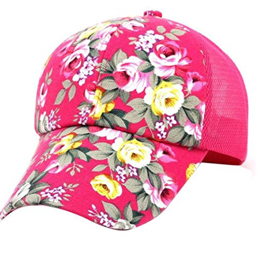 Adjustable Baseball Cap Embroidered Printed Hip Hop Cotton Snapback Flat Hats Boys Girls Summer (Black) (Hot Pink)