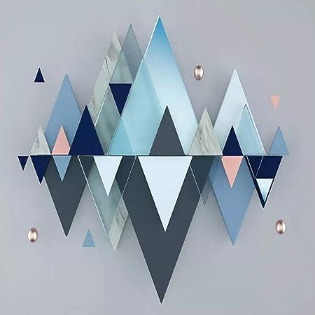 Yjfbh 3d Stéréo Bleu Géométrique Triangle Murale Papier