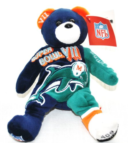 Miami Dolphins vs Washington Redskins RARE Offical NFL Super Bowl VII(7) Collectable Plush Bear (2002 Super Bowl Champions)