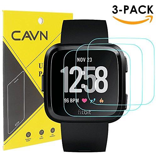 Pcs Screen Protector - CAVN 3 Pcs Fitbit Versa Screen Protector Waterproof 9H Tempered Glass Screen Protector for Fitbit Versa Smart Watch [2.5D Round Edge] [9H Hardness] [Crystal Clear] [Anti-Scratch] [No-Bubble]