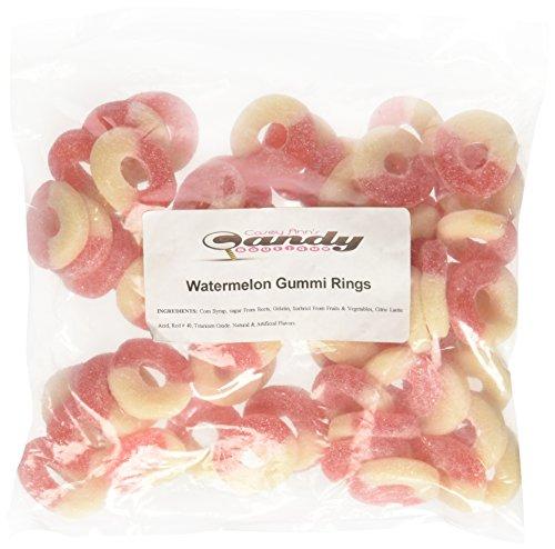 Albanese Watermelon Pink-White Gummi Rings, 1 -Pound Bag