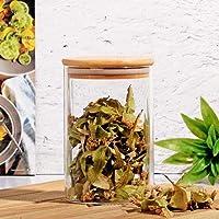 Ksv bambu kapaklı cam kavanoz - erzak kavanozu 16 cm