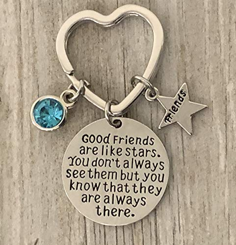 Personalized Best Friends Birthstone Charm Keychain- Custom Good Friends are Like Stars Key chain- Friend Jewelry for Women- Perfect Gift for Her