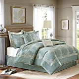 European King Bed Measurements MADISON PARK SIGNATURE Newhaven King Size Bed Comforter Set Bed in A Bag - Turquoise, Jacquard with Medallion – 8 Pieces Bedding Sets – Ultra Soft Microfiber Bedroom Comforters