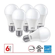 LEDPAX A19 LED Light Bulbs Dimmable 9.5W (60W equivalent), 2700K , 800 Lumens, CRI 80, Standard E26 Base, All Purpose LED Light Bulb, 6 Pack, UL Listed, Energy Star Certified