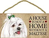 Maltese Wood Dog Sign Wall Plaque Photo Display 5 x 10 - House Is Not A Home + Bonus Coaster