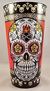 Sugar Skull Heart on Fire 16 Oz Reusable Plastic Party Drinking Cup