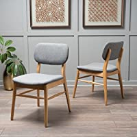 Christopher Knight Home 300016 Colette Fabric Dining Chairs (Set of 2), Grey/Oak