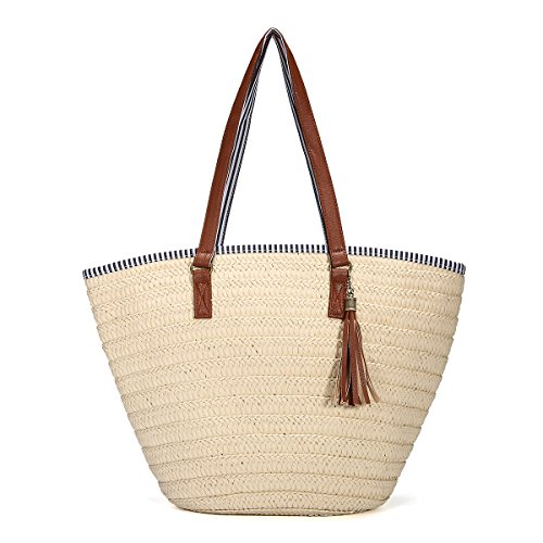Straw Beach Bag, JOSEKO Summer Handbags Shoulder Bag Tote with Leather Handles Tassels Women Bag Off White Off White
