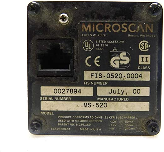 Microscan MS-520 FIS-0520-0004 Fixed Laser 10-28VDC Industrial Barcode Scanner