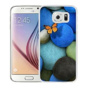 NEW Unique Custom Designed Samsung Galaxy S6 Phone Case With Lonely Butterfly Blue Rocks_White Phone Case