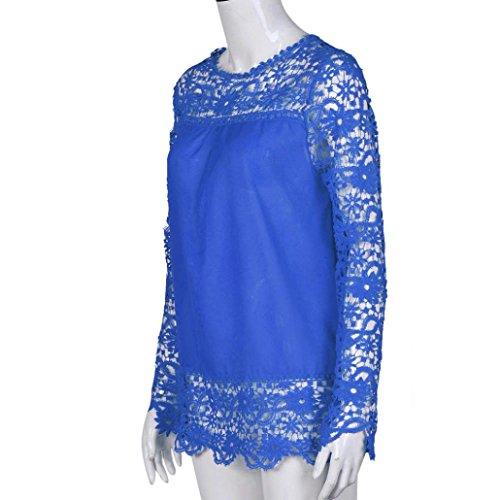 manches longues S ample shirt Mode Femmes couleurs Tops Bleu Casual Transer Blouse T 9 Chemisier coton Femme XXXXXL Dentelle Shirt FqtwIpC