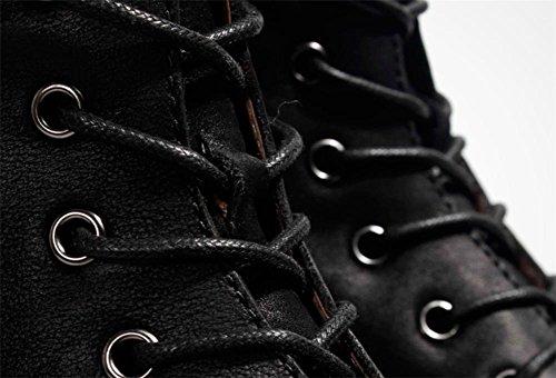Hombres Otoño Invierno Ejército Botas Moda Alto Retro Martín Cuero Zapatos Negro Grueso Fondo Al aire libre Black