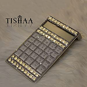 Bling Bling TISHAA Luxury Calculator Calendar Time Alarm Clock with large Clear Dazzling Crystal/Diamonds/Rhinestones, Perfect Gift, Fashionable Desk Accessory, Office or Home Gift (White Big Stone)