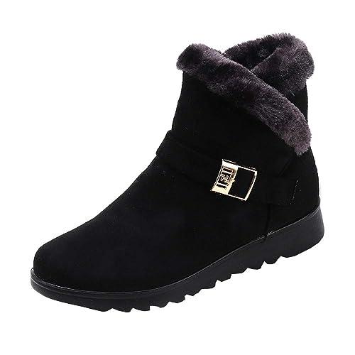 Rawdah Botas Mujer Invierno Botines de Moda de Invierno para Mujeres, además de Botas de Nieve Planas de cuña con Parte Superior de Terciopelo Zapatos Mujer ...