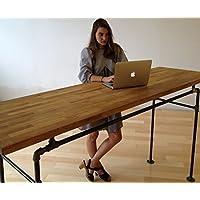 Standing Desk -- Black Steel Pipe and Wooden Butcher Block