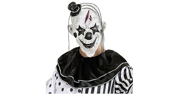 Antifaz payaso killer Máscara de terror payasito con sombrero y pelo Careta terrorífica arlequín Mascarilla pierrot látex Antifaz Halloween Complemento para ...