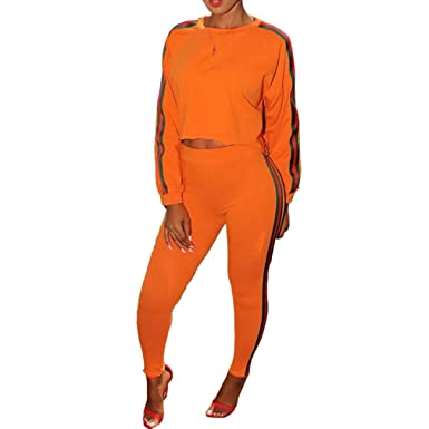 d41485e9f6936 Highdas Ensemble Survêtement Femme - Sweat-Shirt + Pantalon Joggers Sports  Suits  Amazon.fr  Vêtements et accessoires