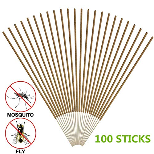 COSYWORLD Mosquito Repellent Sticks, DEET Free & Safe Insect Repellent Incense Sticks, Natural Plant Based Bamboo Infused with Citronella, Lemongrass Oil - (100 - Sticks Mosquito Sandalwood
