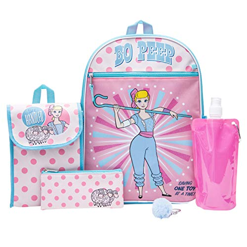 Toy Story Backpack Combo Set - Disney Pixar Toy Story Girls' 6 Piece Backpack Set - Bo Peep & Buzz Lightyear Backpack & Lunch Kit (Light Pink) ()