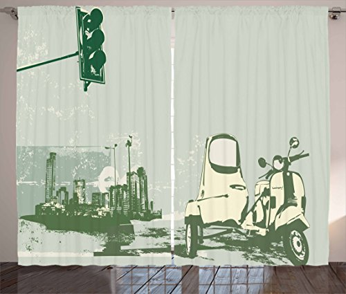 Ambesonne Urban Decor Curtains, Vector Illustration of Vintage Scooter on the Grunge Background Pattern, Living Room Bedroom Window Drapes 2 Panel Set, 108W X 90L Inches, Avocado Green