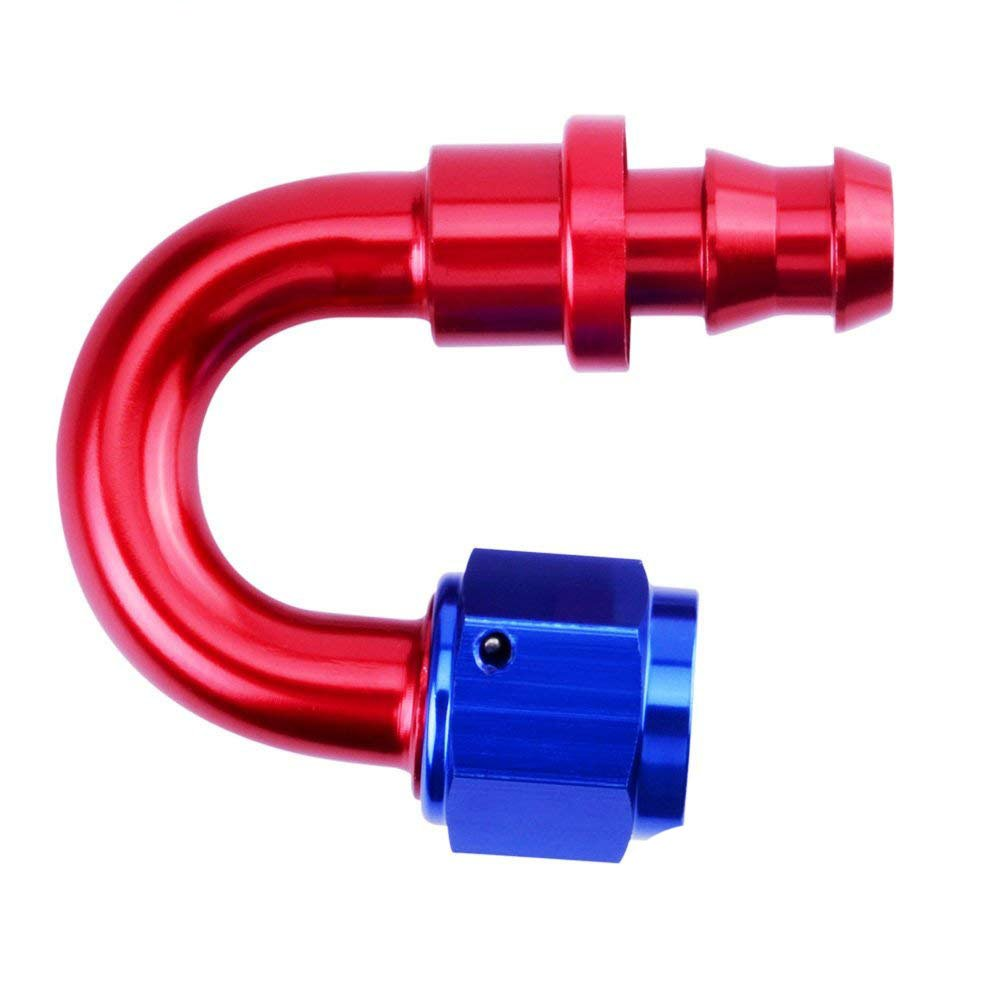 EVIL ENERGY 6AN 180 Degree Push Lock Hose Fitting End Blue&Red by evilenergy